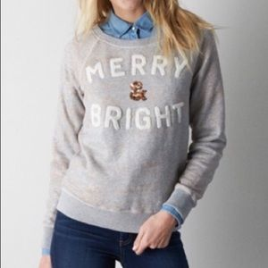 American Eagle merry & bright metallic pullover